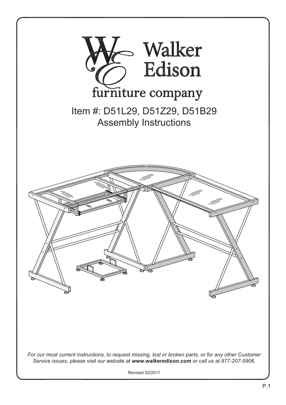 Walker Edison Furniture D51b29 Soreno L Shaped Computer Desk User Manual 10 Pages Also For D51z29 D51l29 Imperial