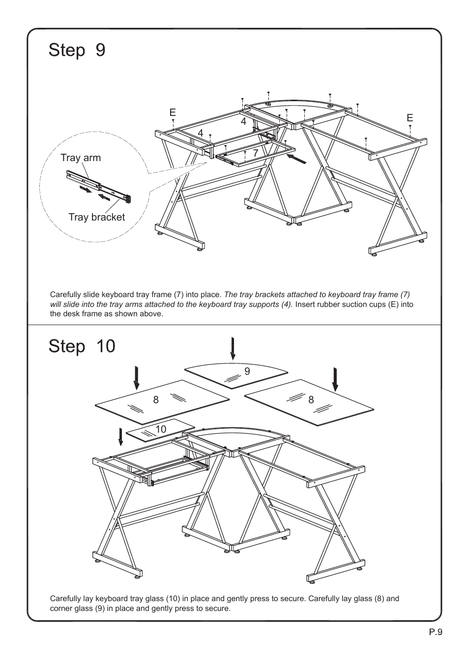 Walker Edison Furniture D51b29 Soreno L Shaped Computer Desk User Manual Page 9 10 Also For D51z29 D51l29 Imperial