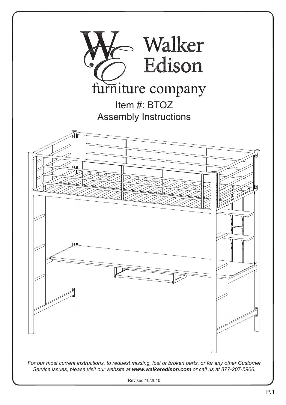 Walker Edison Furniture Btoz Sunrise Twin Workstation