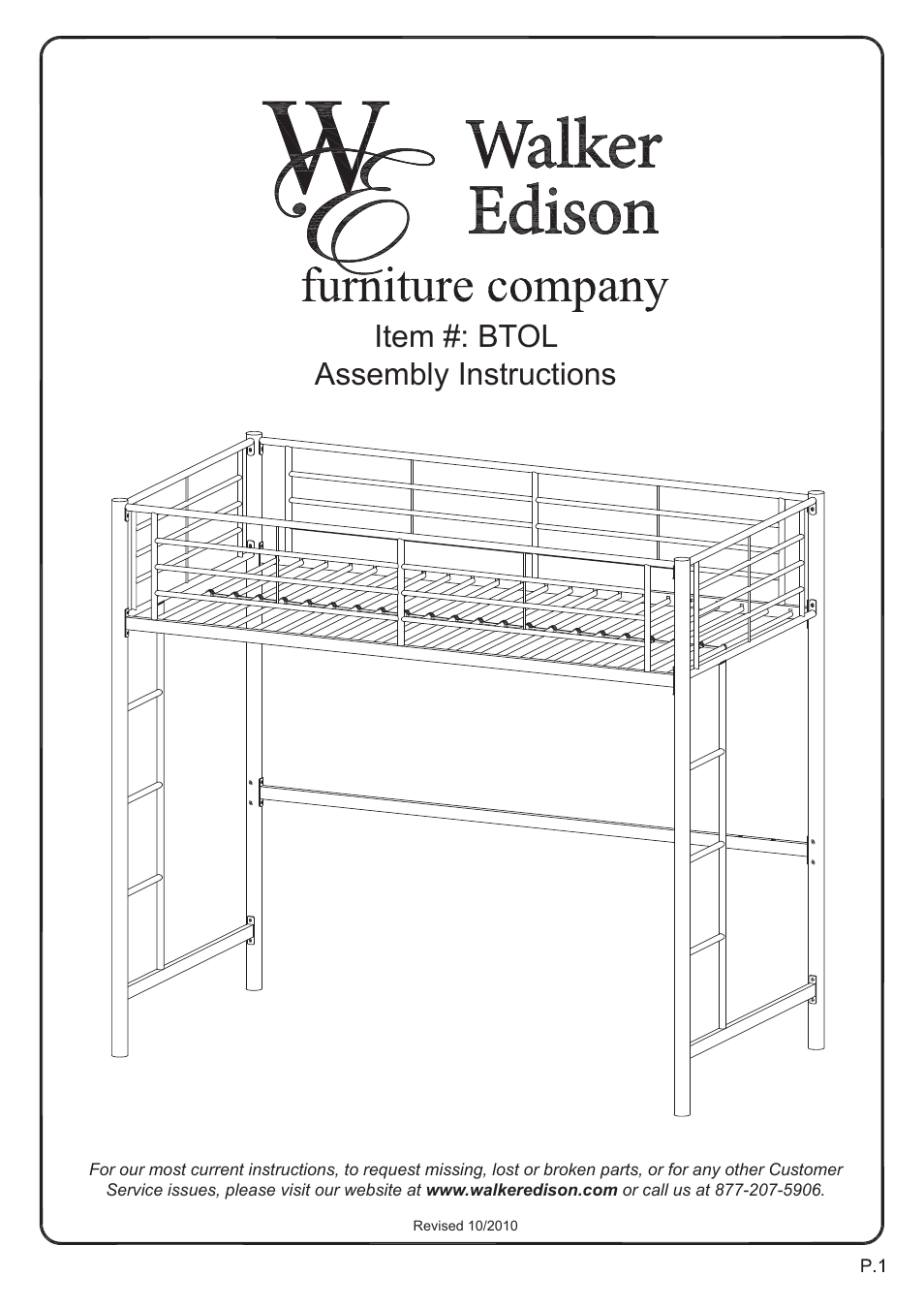 Walker Edison Furniture Btol Sunrise Twin Loft Metal Bunk