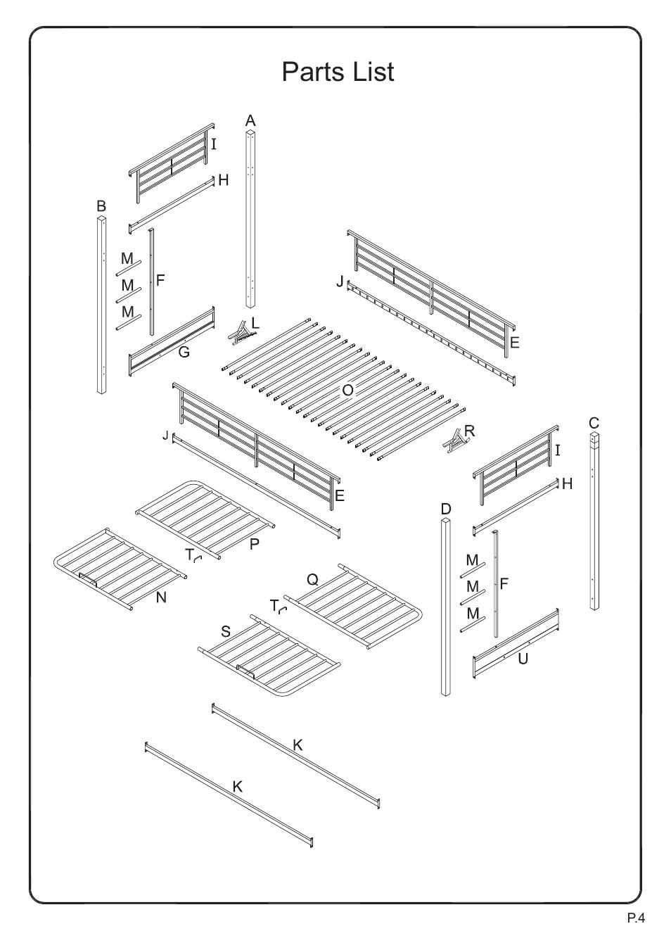 Parts List Walker Edison Furniture Btof Sunrise Twin Futon Metal