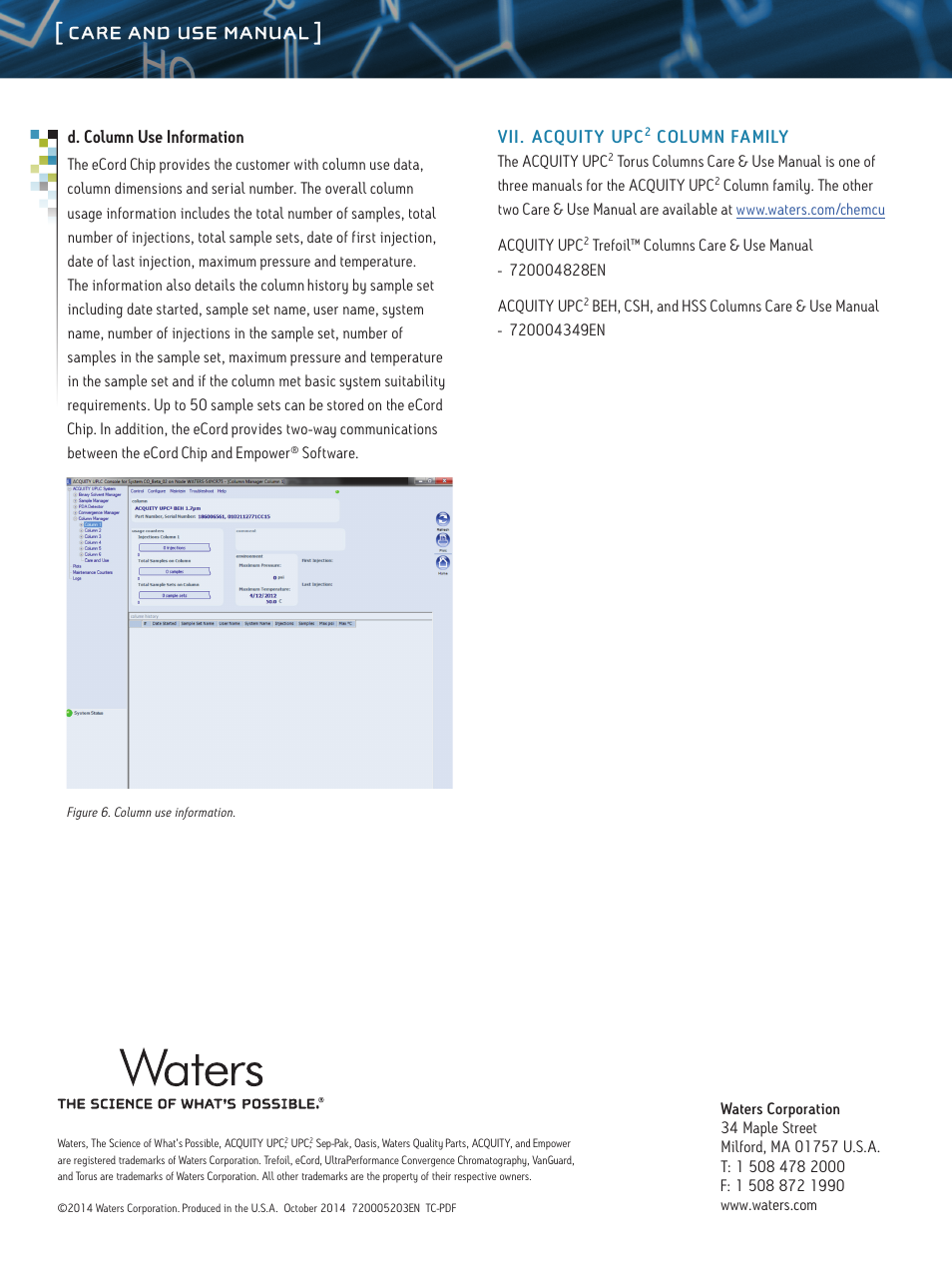 Care and use manual | Waters ACQUITY UPC2 Torus Columns User Manual | Page  8 / 8
