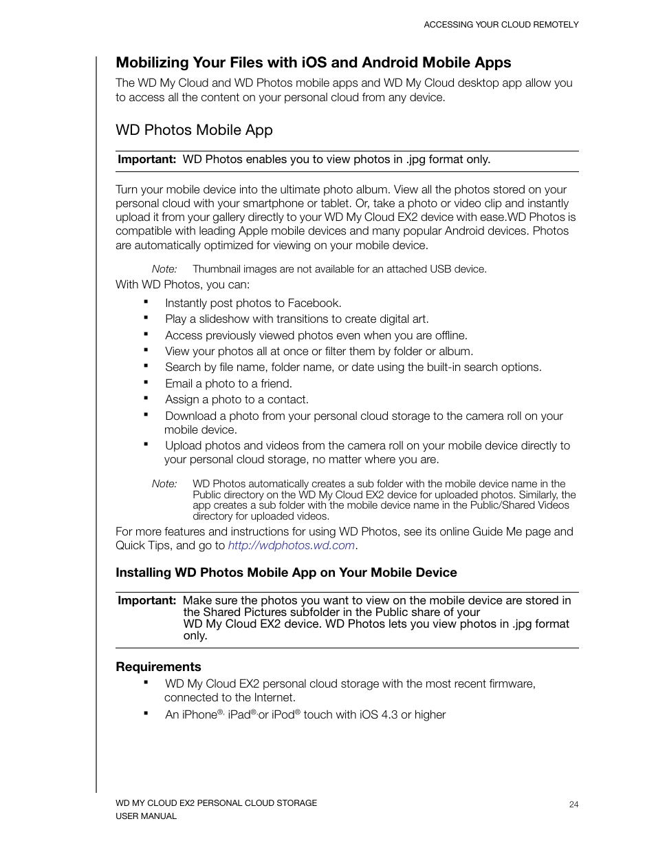 Wd photos mobile app, Requirements | Western Digital My