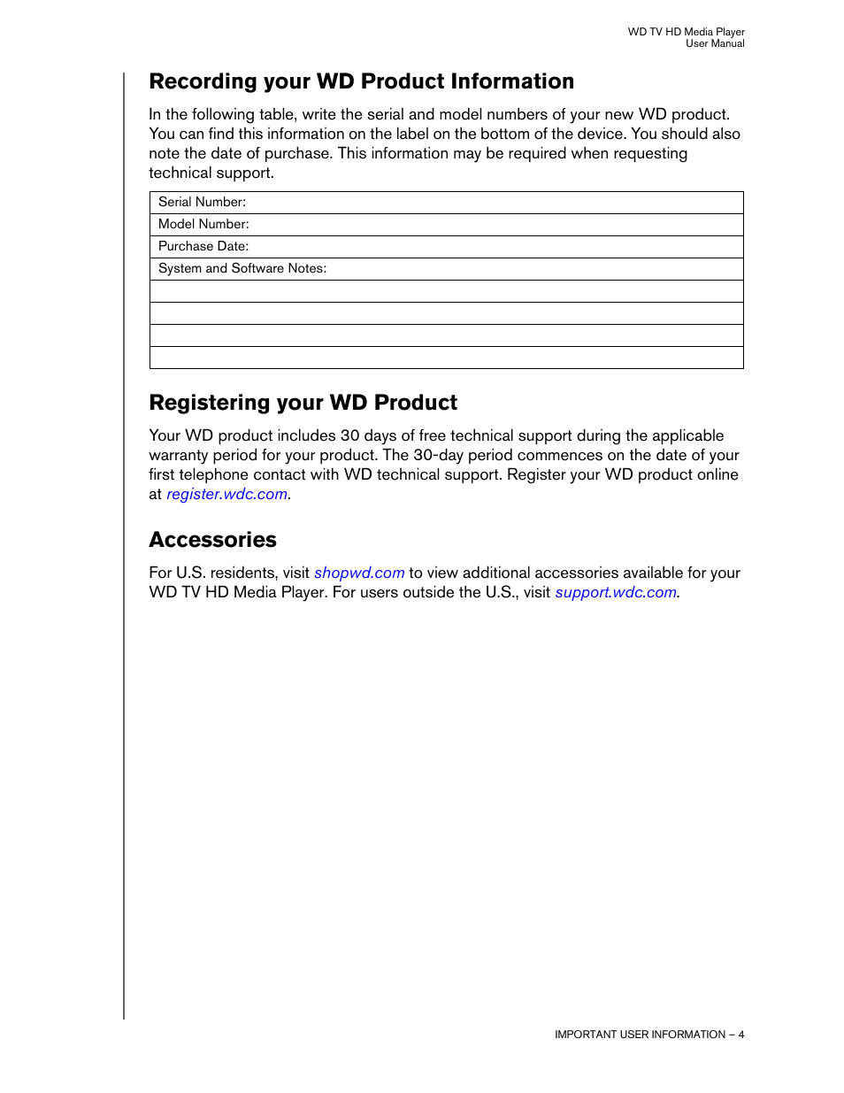 Recording your wd product information, Registering your wd