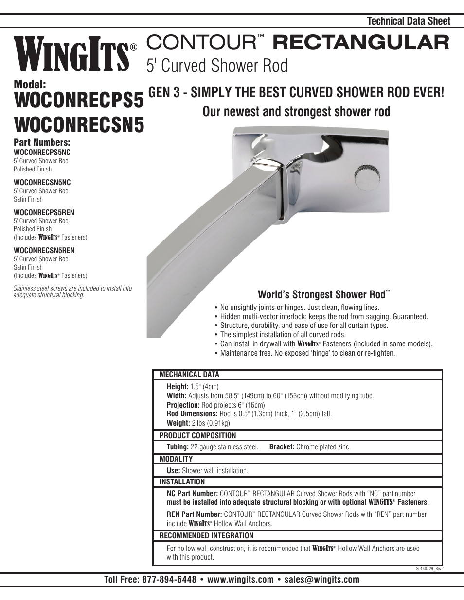 WINGITS CONTOUR Curved Shower Rod WOCONREC5 User Manual | 2 pages