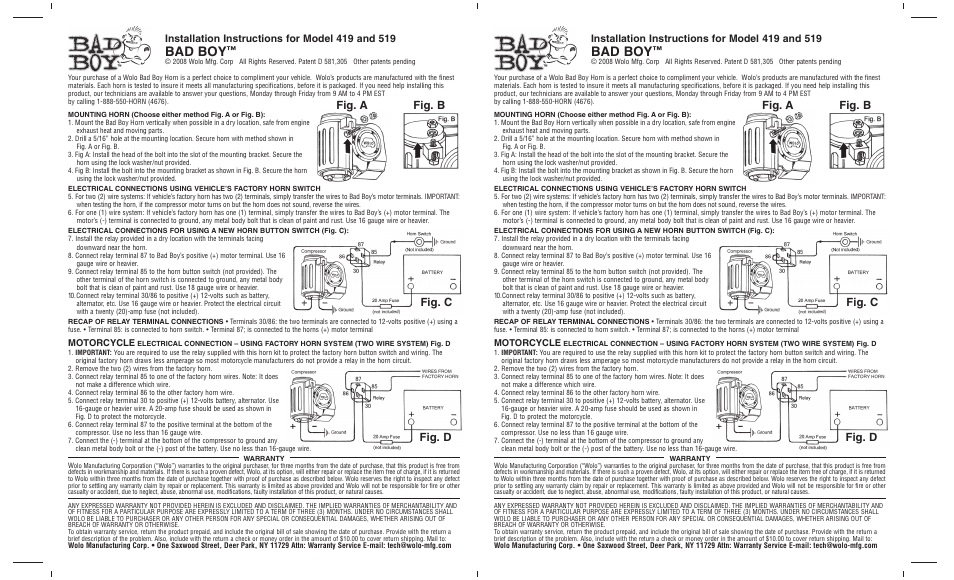 Wolo 419 Bad Boy User Manual 1 Page Also For 519 Bad Boy