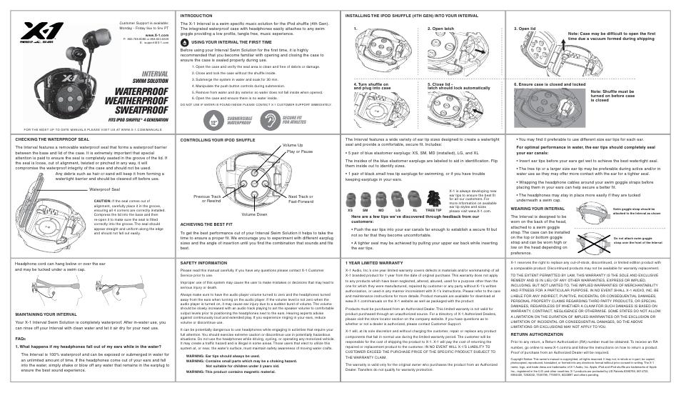 x 1 h2o audio int4 bk x user manual 1 page rh manualsdir com Camo iPod 4th Generation Case H2O Audio Waterproof Headphones
