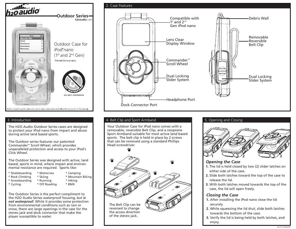 x 1 h2o audio r9 1a4 user manual 2 pages rh manualsdir com H2O Audio for iPod Shuffle Waterproof iPod Case