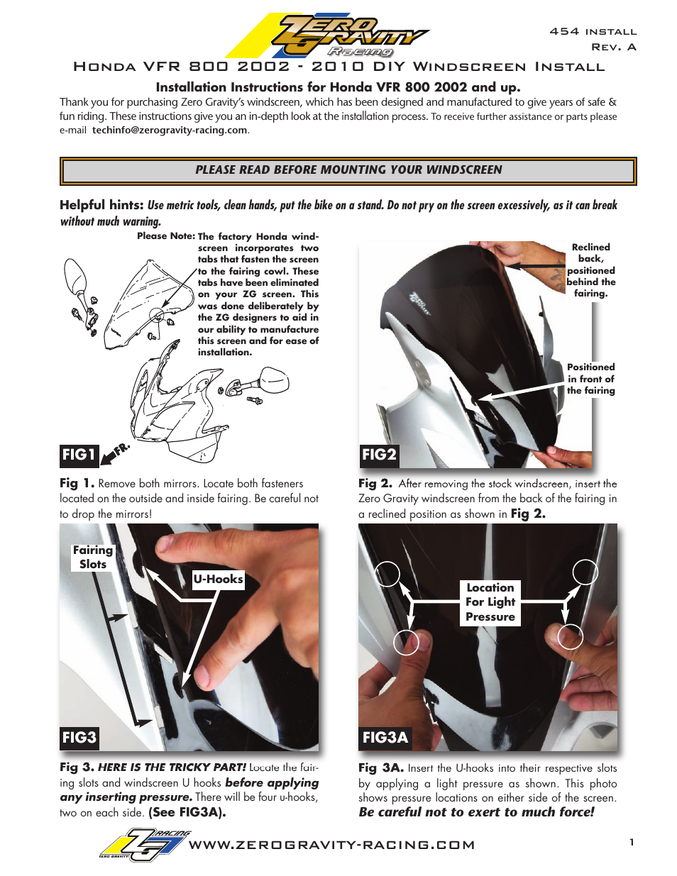 Zero Gravity Honda VFR 800 (2002 and up) Windscreen User Manual | 2