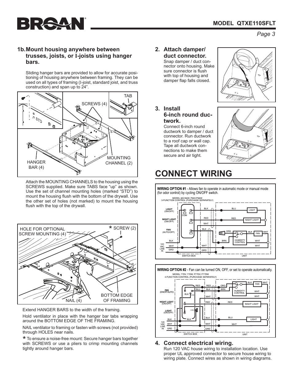 connect wiring connect electrical wiring attach damper duct rh manualsdir com Trane Wiring Diagrams Hunter Fan Wiring Diagram