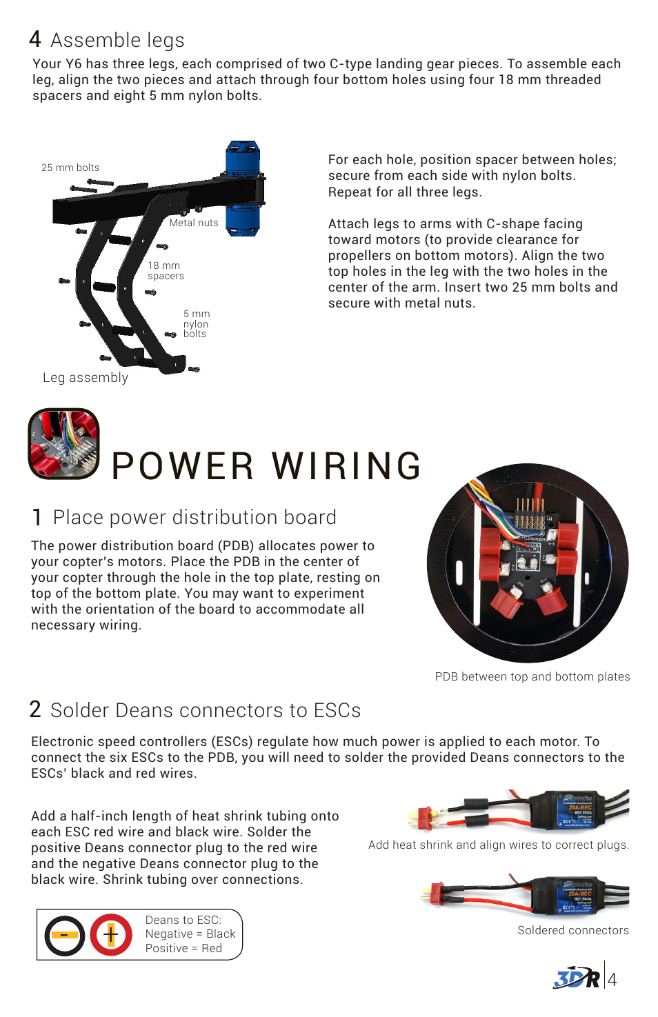Power wiring, Place power distribution board, Solder deans
