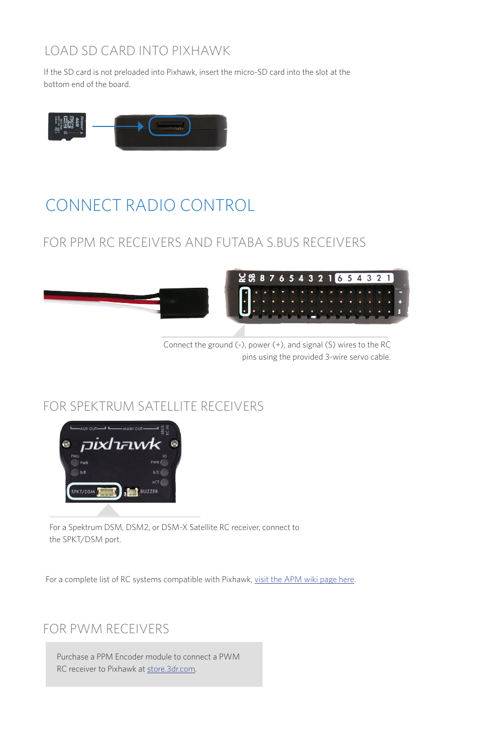 Connect Radio Control Load Sd Card Into Pixhawk 3d Robotics Ppm Encoder Wiring Autopilot User Manual Page 4 14