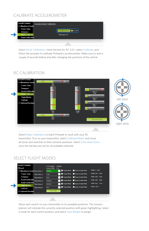 Calibrate accelerometer select flight modes, Rc calibration | 3D