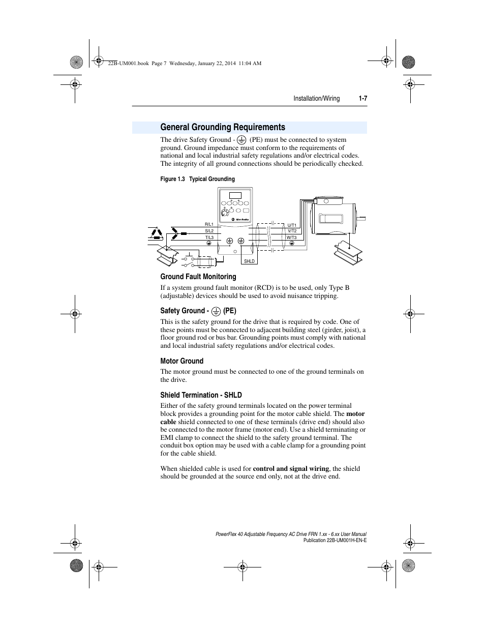 General Grounding Requirements Ground Fault Monitoring Safety 17 Edition Wiring Regulations Book Pe Rockwell Automation 22b Powerflex 40 Frn 1xx 6xx User Manual Page