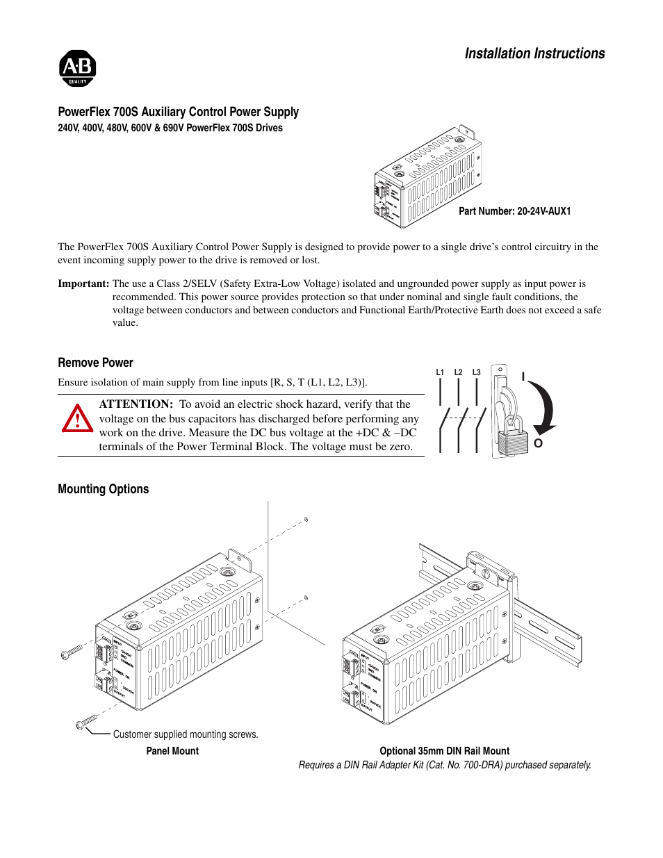 Rockwell Automation 20d Powerflex 700s Auxiliary Control Power Ungrounded Cord Wiring Diagram Supply User Manual 4 Pages
