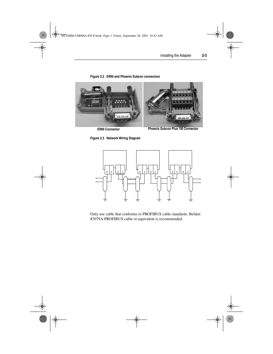 Figure 2.2, Figure 2.3, Installing the adapter 2-3 | Rockwell Automation  20-COMM-P Profibus Adapter User Manual | Page 17 / 117