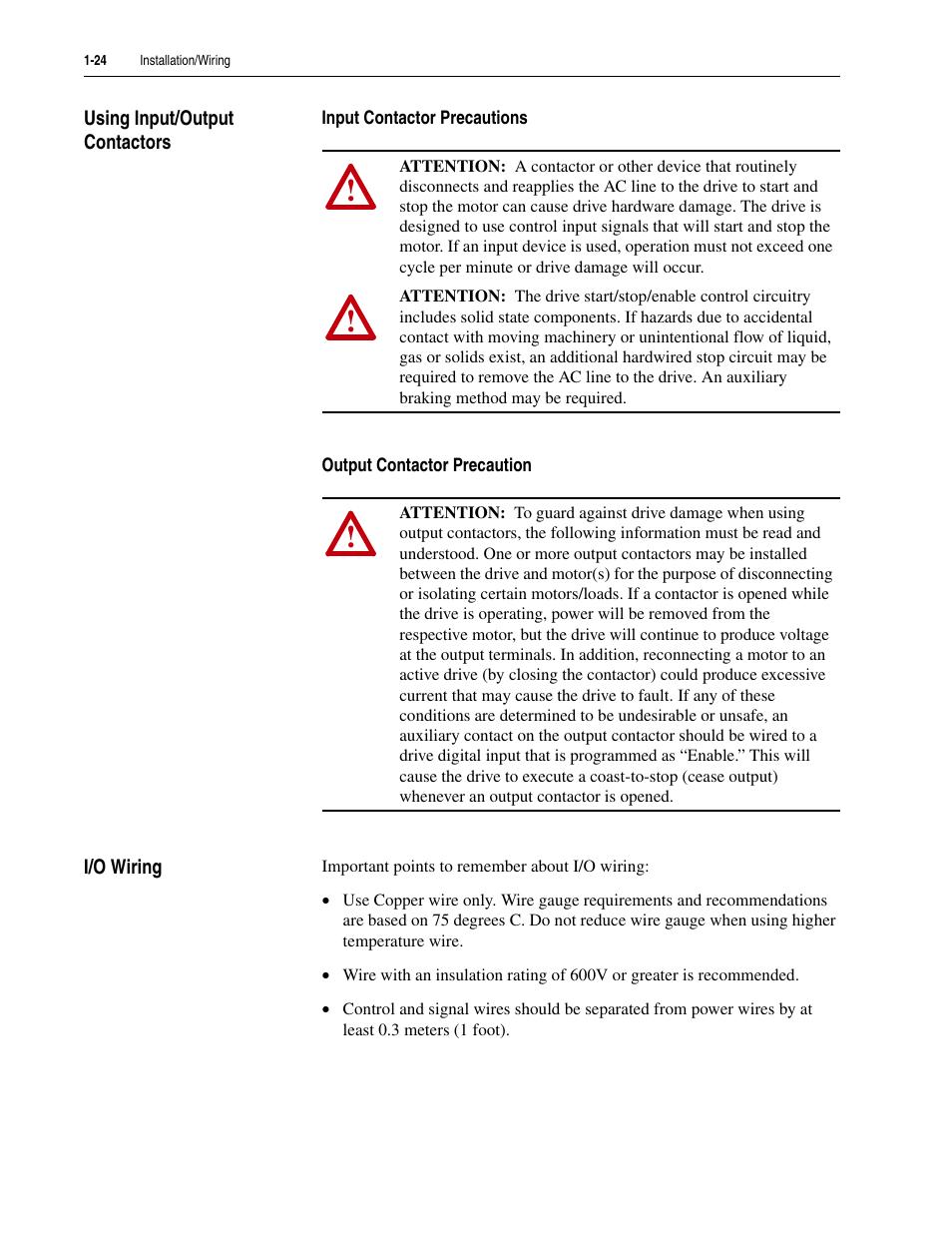 Using input/output contactors, Input contactor precautions, Output ...