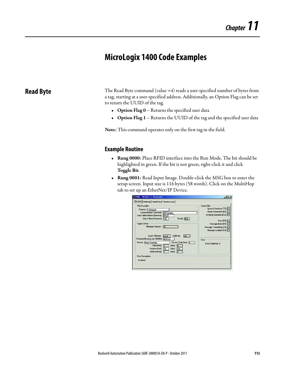Micrologix 1400 code examples, Chapter, Read byte | Rockwell