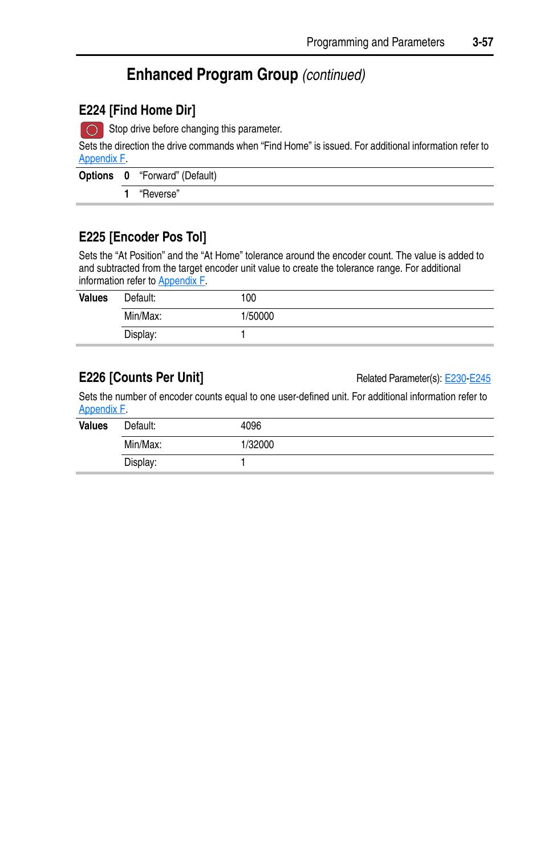 E225, Enhanced program group, Continued) | E224 [find home dir, E225
