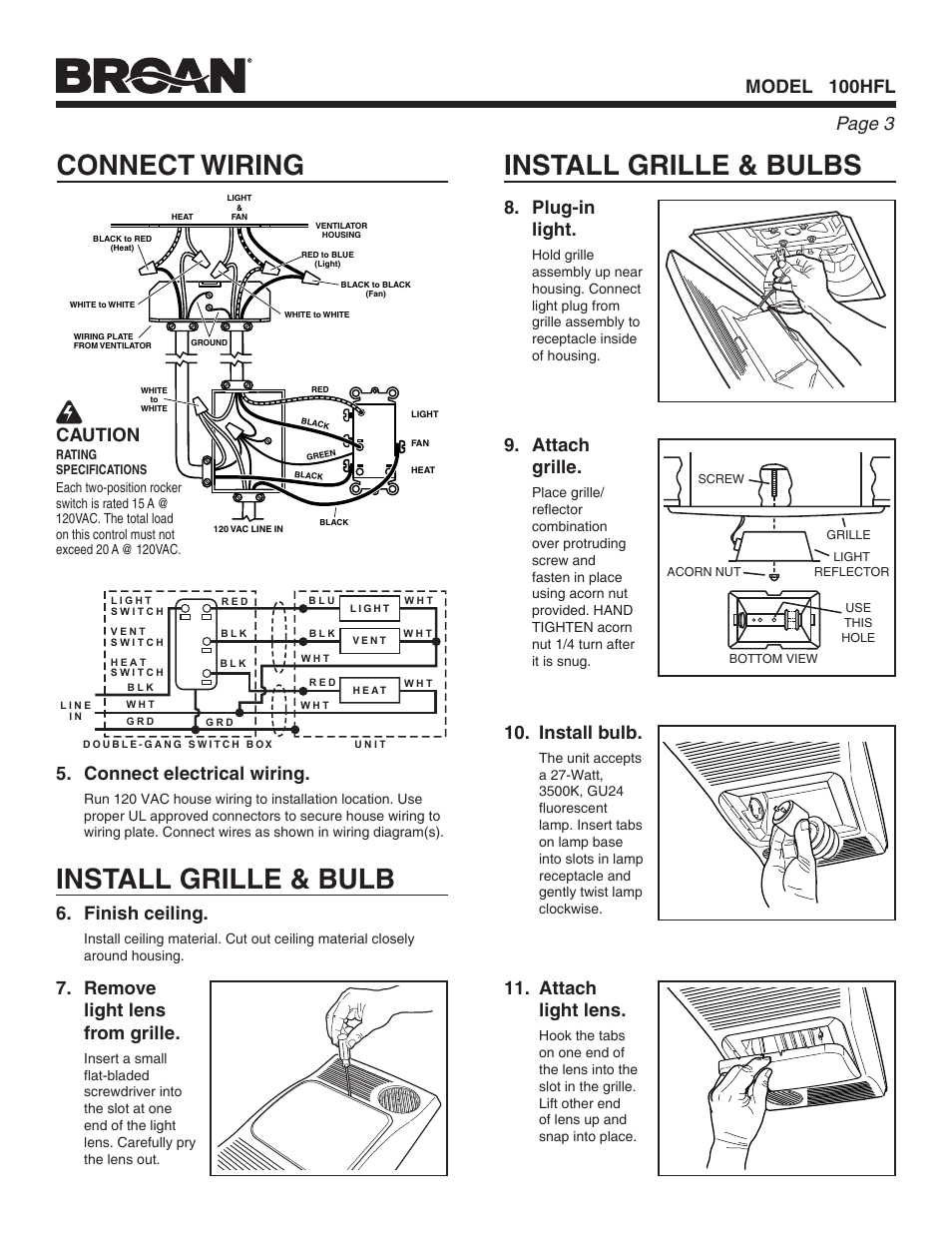 Install Grille Bulbs Connect Wiring Bulb Blower Fan Diagram For Light Broan Ventilation With And Heater 100hfl User Manual Page 3 8