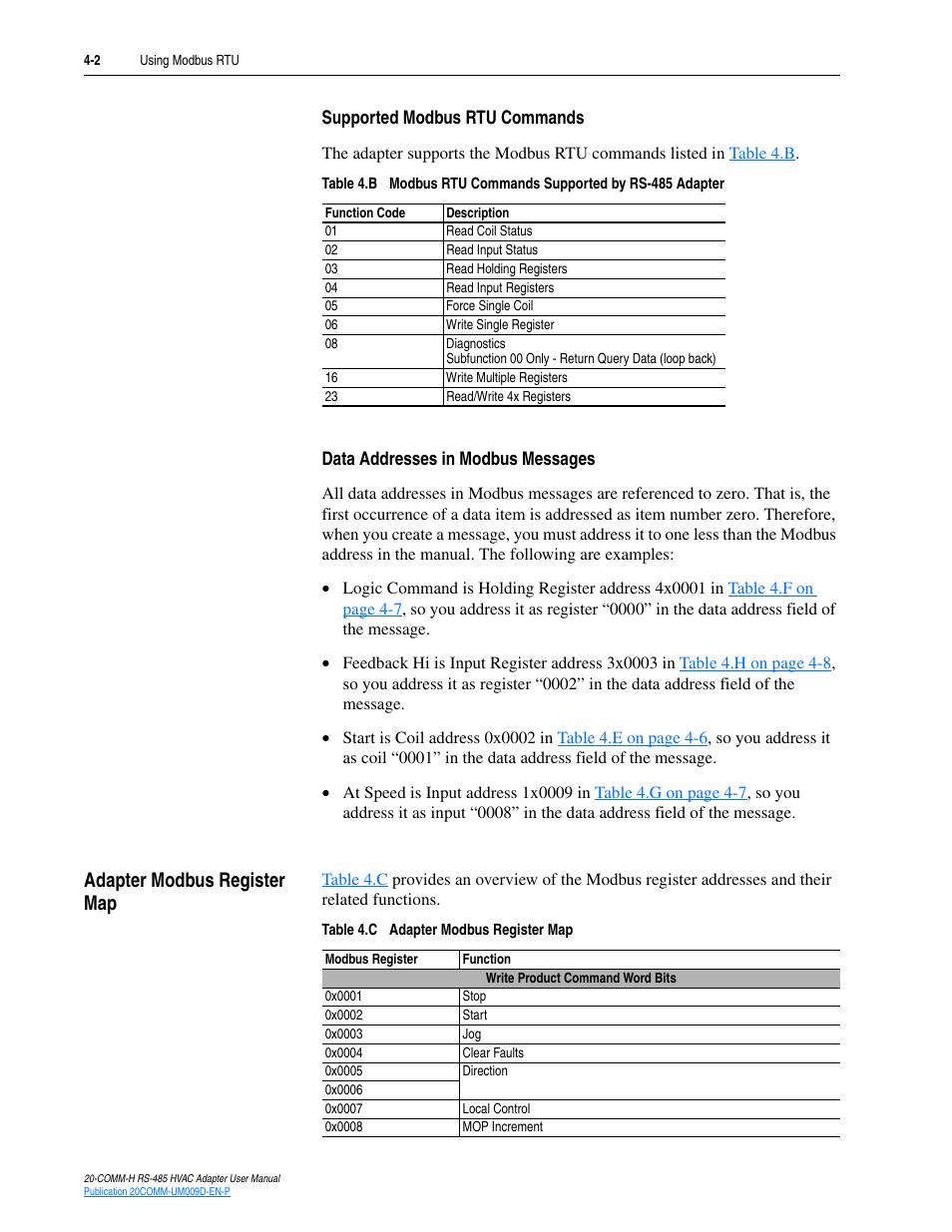 Supported modbus rtu commands, Data addresses in modbus