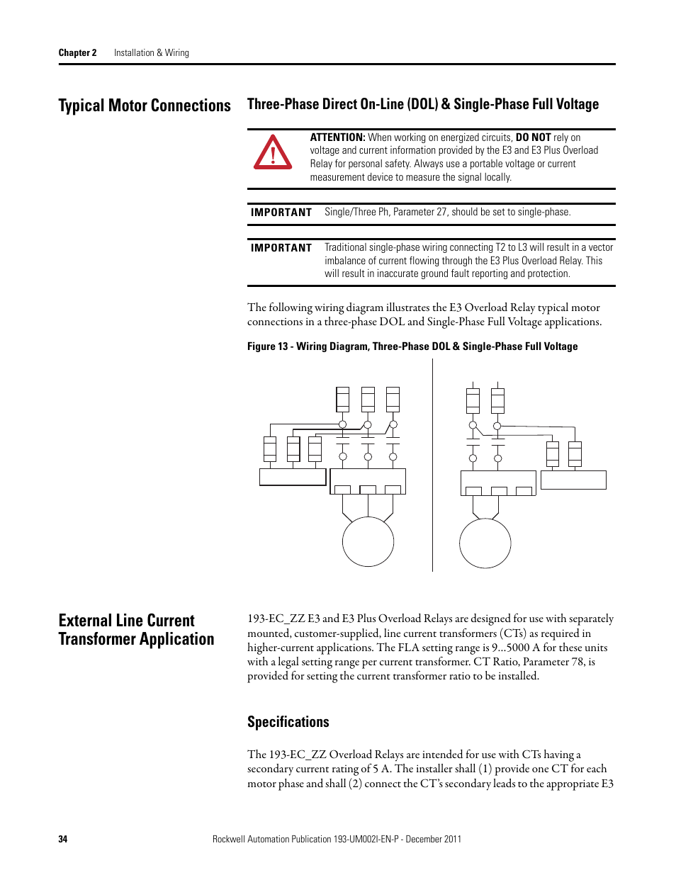 Typical Motor Connections External Line Current Transformer Basic Wiring Diagram Application Specifications Rockwell Automation 193 Ec1 2 3 5 Ecpm592 E3 And