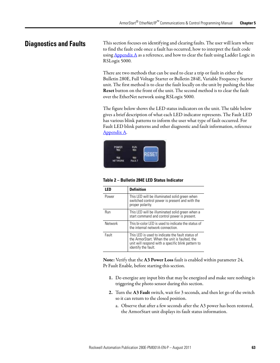 Diagnostics and faults   Rockwell Automation 284E ArmorStart