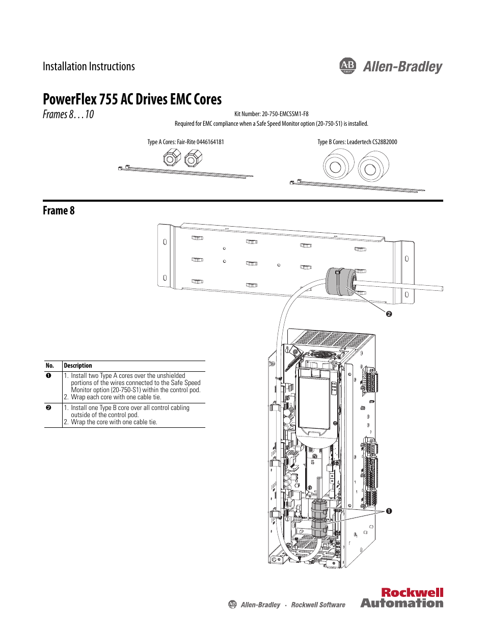 rockwell automation 21g powerflex 755 emc core kit frame 8 and larger page1 rockwell automation 21g powerflex 755 emc core kit, frame 8 and powerflex 755 wiring diagrams at bakdesigns.co