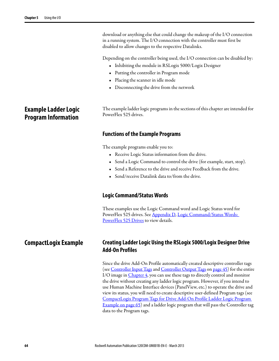 Example ladder logic program information, Functions of the example