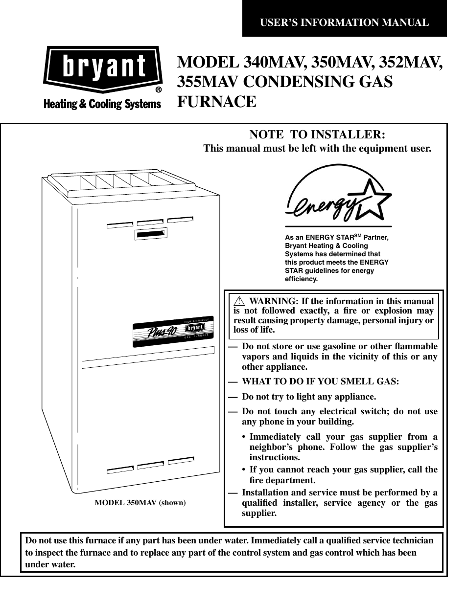 Bryant Gas Boiler Wiring Diagram Schematics Diagrams Condensing Furnace 352mav User Manual 12 Pages Also Rh Manualsdir Com Steam Blowdown Piping Controls