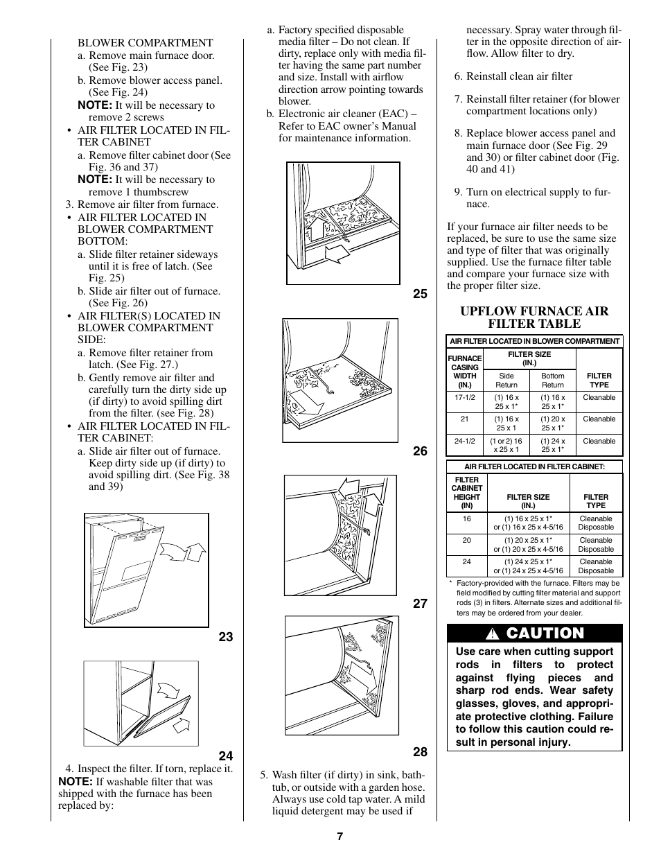 Caution, Upflow furnace air filter table | Bryant CONDENSING GAS FURNACE  352MAV User Manual | Page 7 / 12