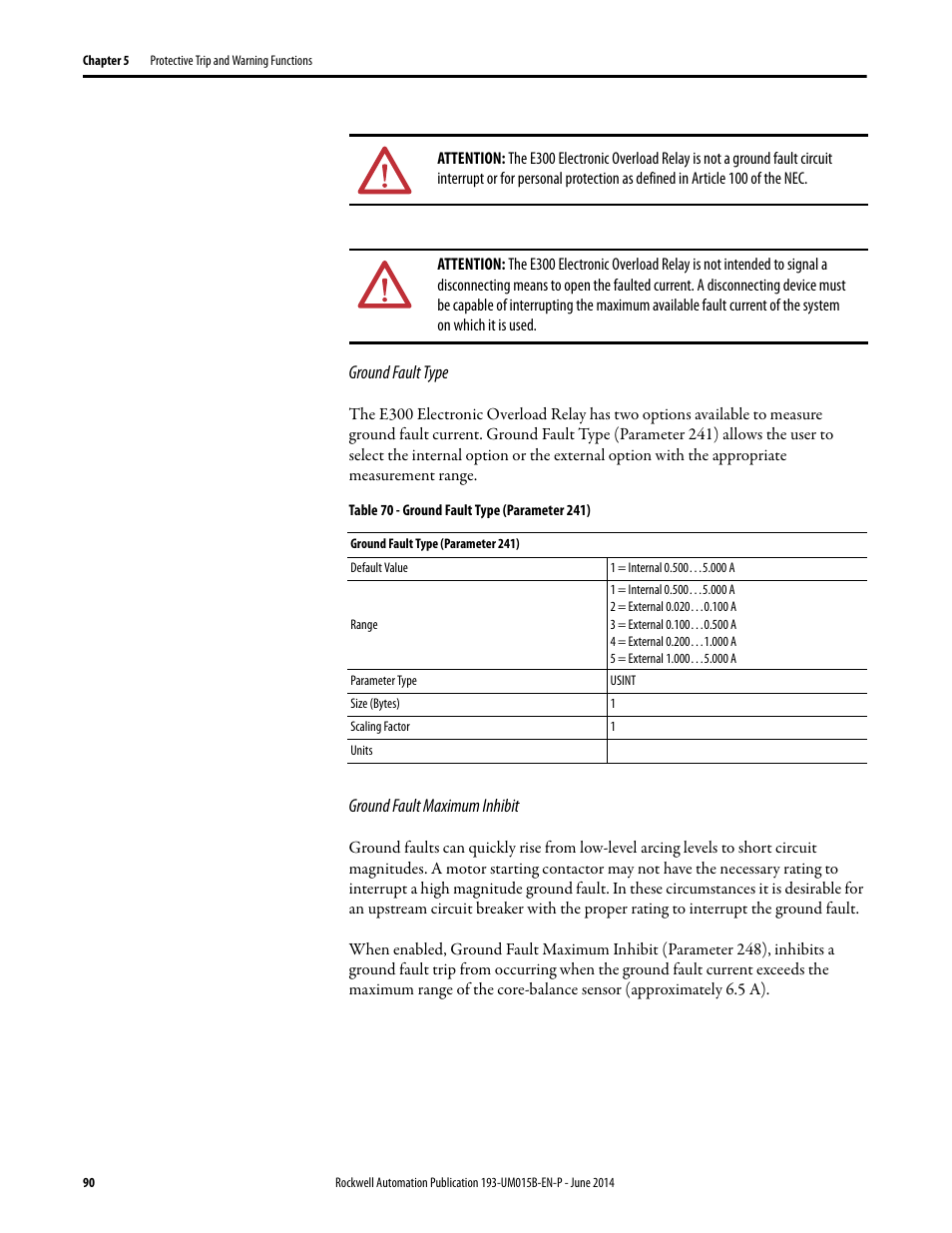 Rockwell Automation 592 E300 Overload Relay User Manual Protection From The Shortcircuit And Groundfault Device Page 90 424 Also For 193
