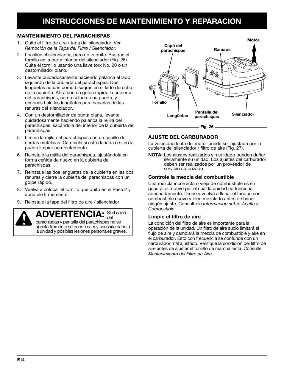 advertencia instrucciones de mantenimiento y reparacion bolens bl rh manualsdir com Car Owners Manual Car Owners Manual