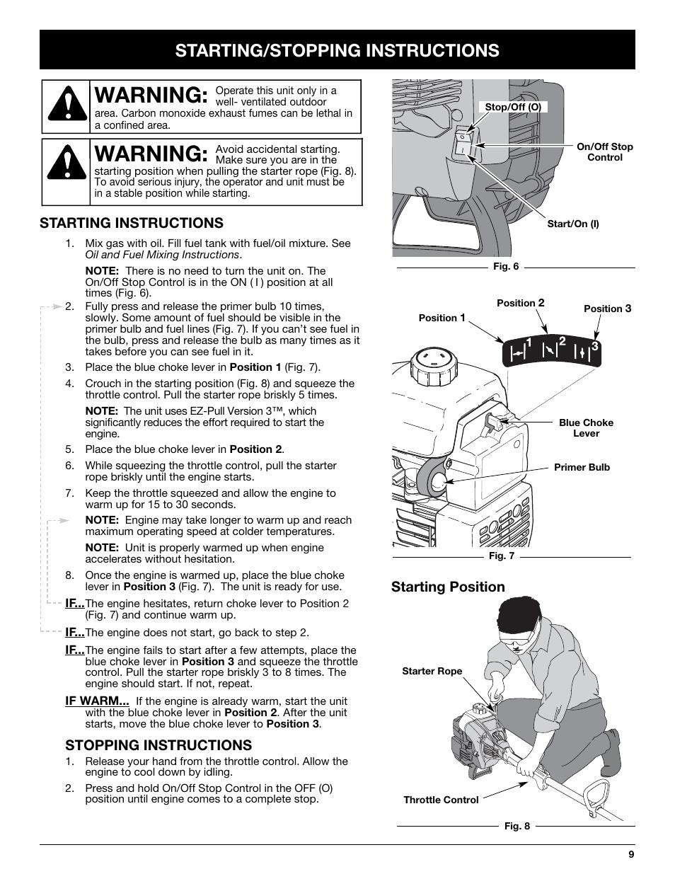 warning starting stopping instructions starting instructions rh manualsdir com Cartoon Manual Car Owners Manual