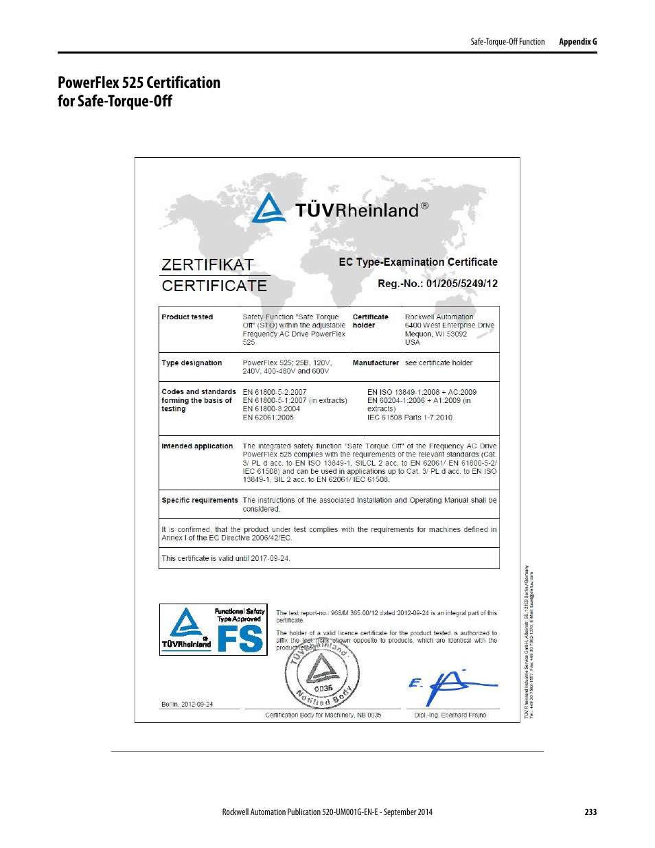 Powerflex 525 Certification For Safe Manual Guide