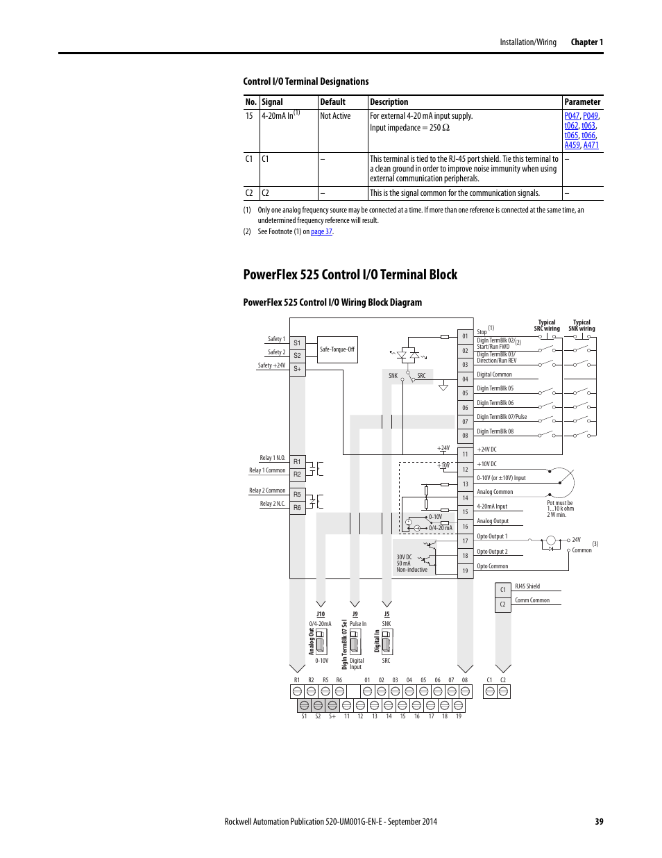 rockwell automation 25b powerflex 520 series adjustable frequency ac drive user manual page39 powerflex 525 control i o terminal block, powerflex 525 control i powerflex 40 wiring diagram at creativeand.co