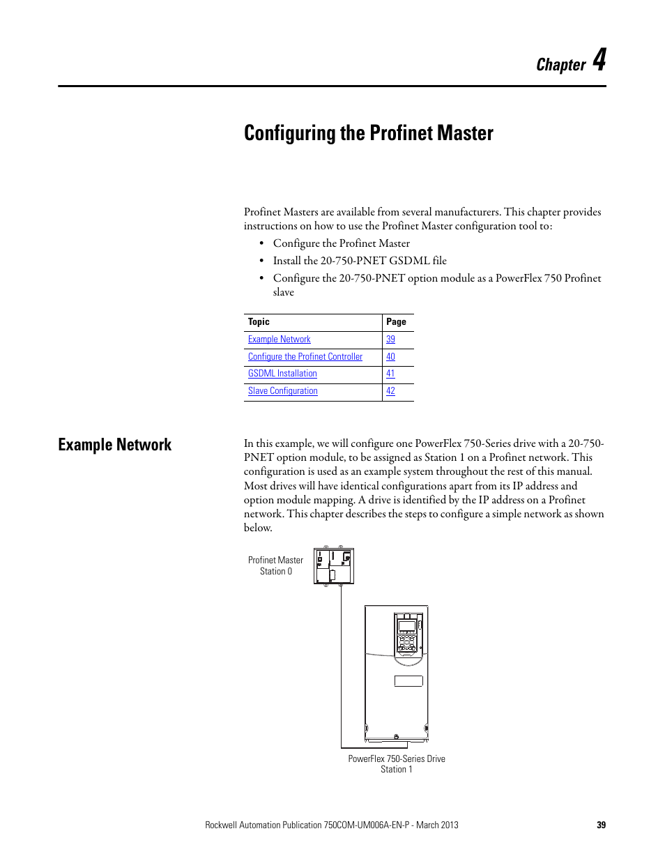 Chapter 4, Configuring the profinet master, Example network