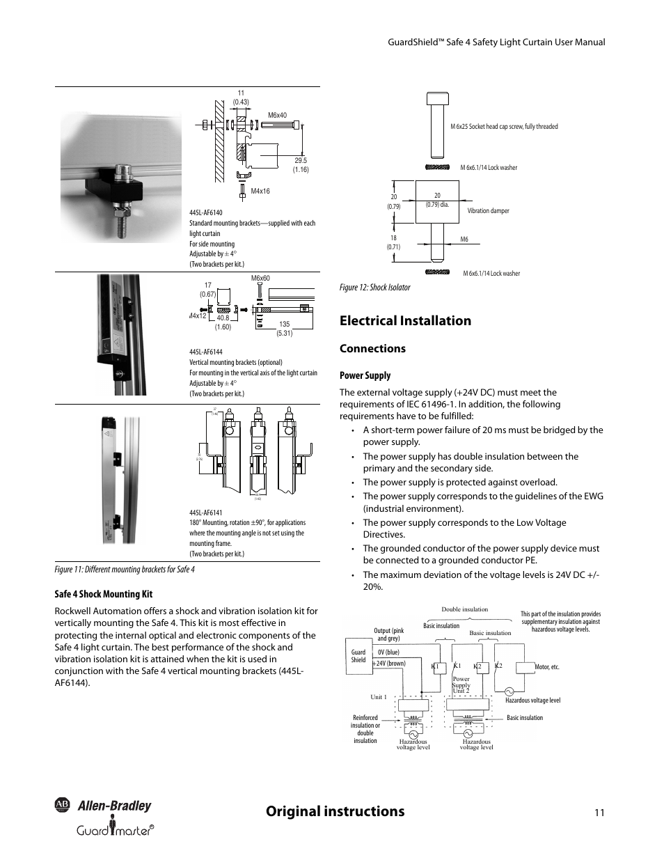 Original instructions, Electrical installation, Connections ...