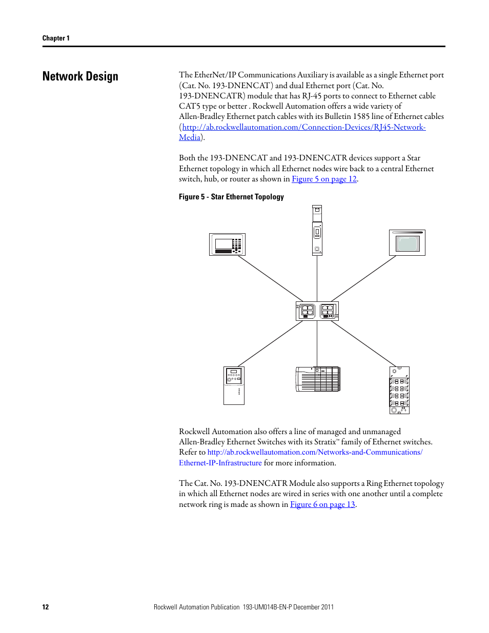 Network Design Rockwell Automation 193 Dnencatr Ethernet Ip Single Node Wiring Diagram Communications Auxiliary User Manual Page 12 104