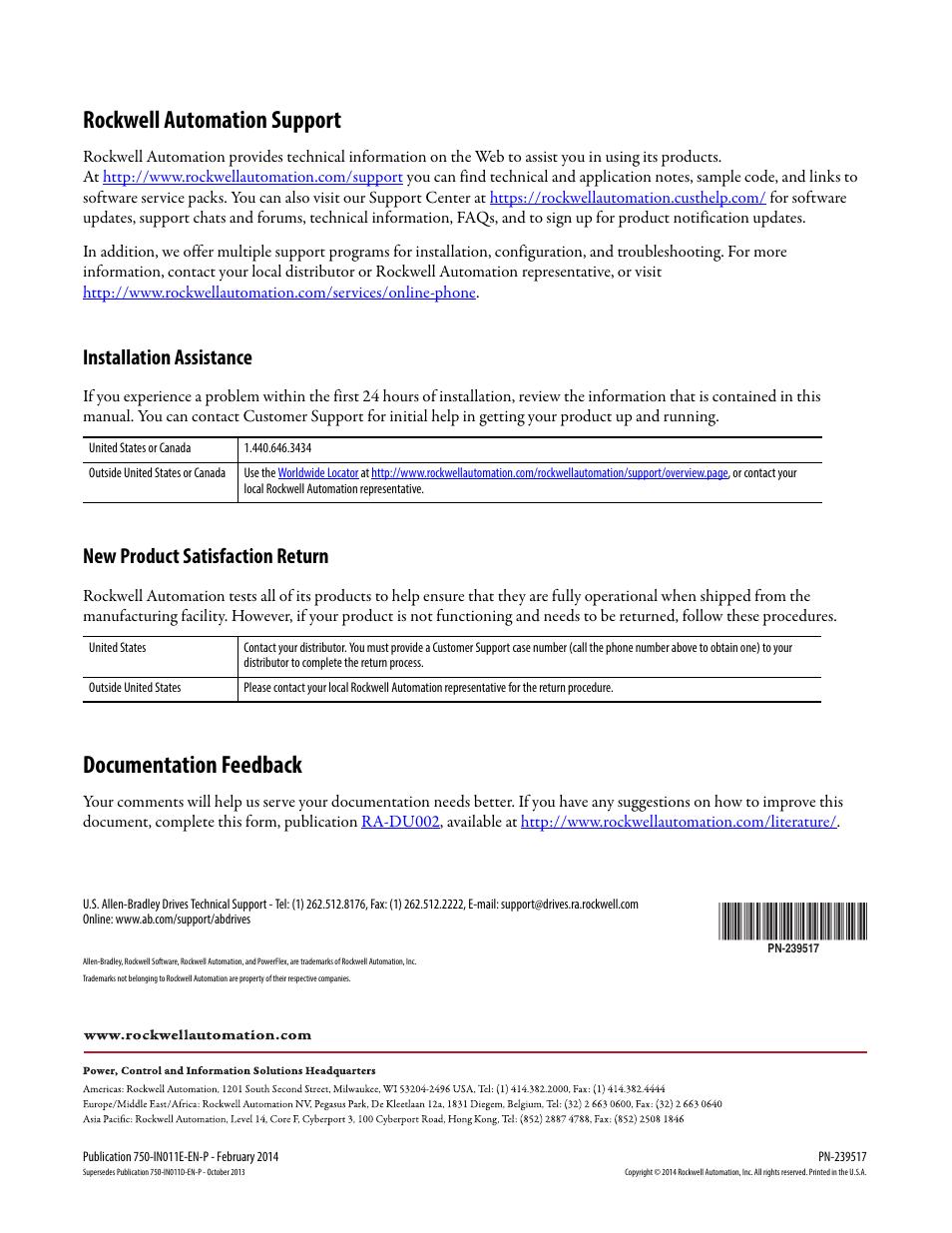 Rockwell automation support, Documentation feedback