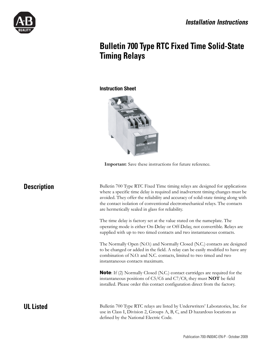 Rockwell Automation 700 Rtc Type Fixed Time Solid State Timing Delay Relay Wiring Diagram Relays User Manual 8 Pages