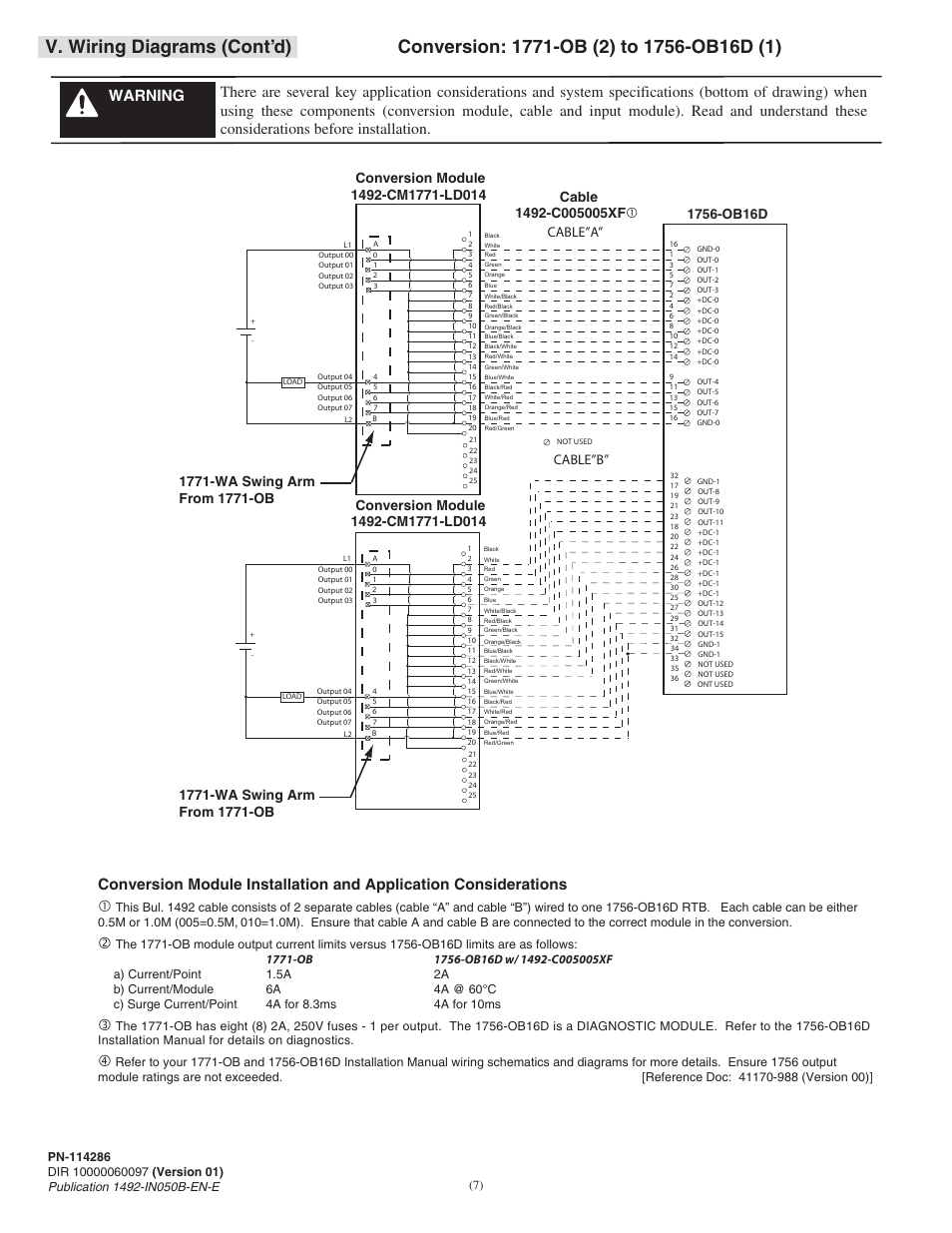 rockwell automation 1492 cm1771 ld0014f field wire conversion module page7 v wiring diagrams (cont'd), cable\u201da\u201d cable\u201db rockwell rockwell automation wiring diagrams at alyssarenee.co