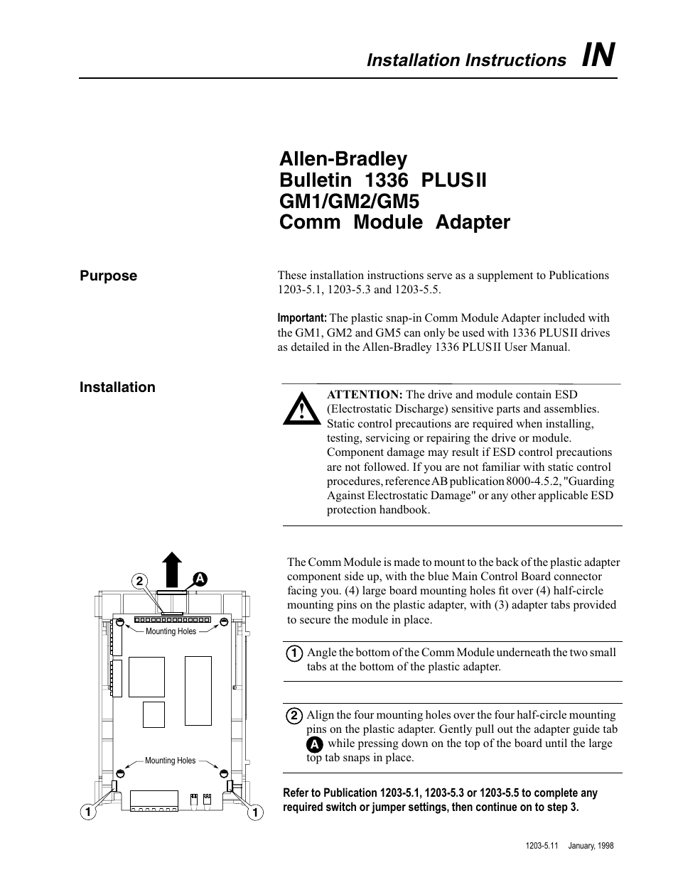 Rockwell Automation 1203 1336 PLUS II COMM Module Adapter User Manual | 2  pages