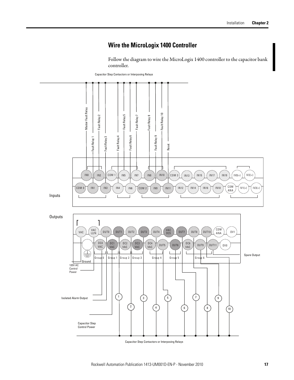 Wire The Micrologix 1400 Controller Inputs Outputs Rockwell Ac Capacitor And Contactor Wiring Automation 1413 Cap Me Pe Bank Series C User Manual Page 17 76