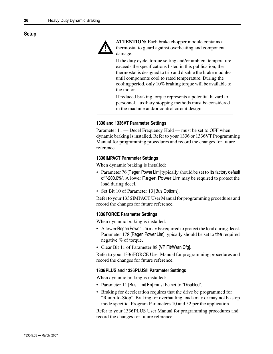Setup | Rockwell Automation 1336_F_E_T_S SERIES A CHOPPER BRAKE MODULE User  Manual | Page 26 / 40