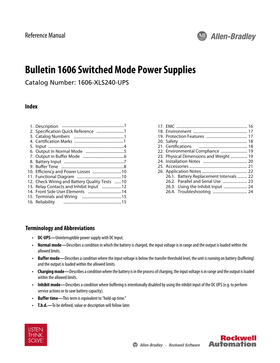 Rockwell Automation 1606 Xls240 Ups Power Supply Reference Manual Panel Wiring Diagram User 26 Pages