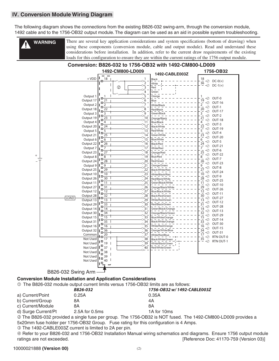Iv. conversion module wiring diagram | Rockwell Automation 1492-CM800-LD009  Field Wire