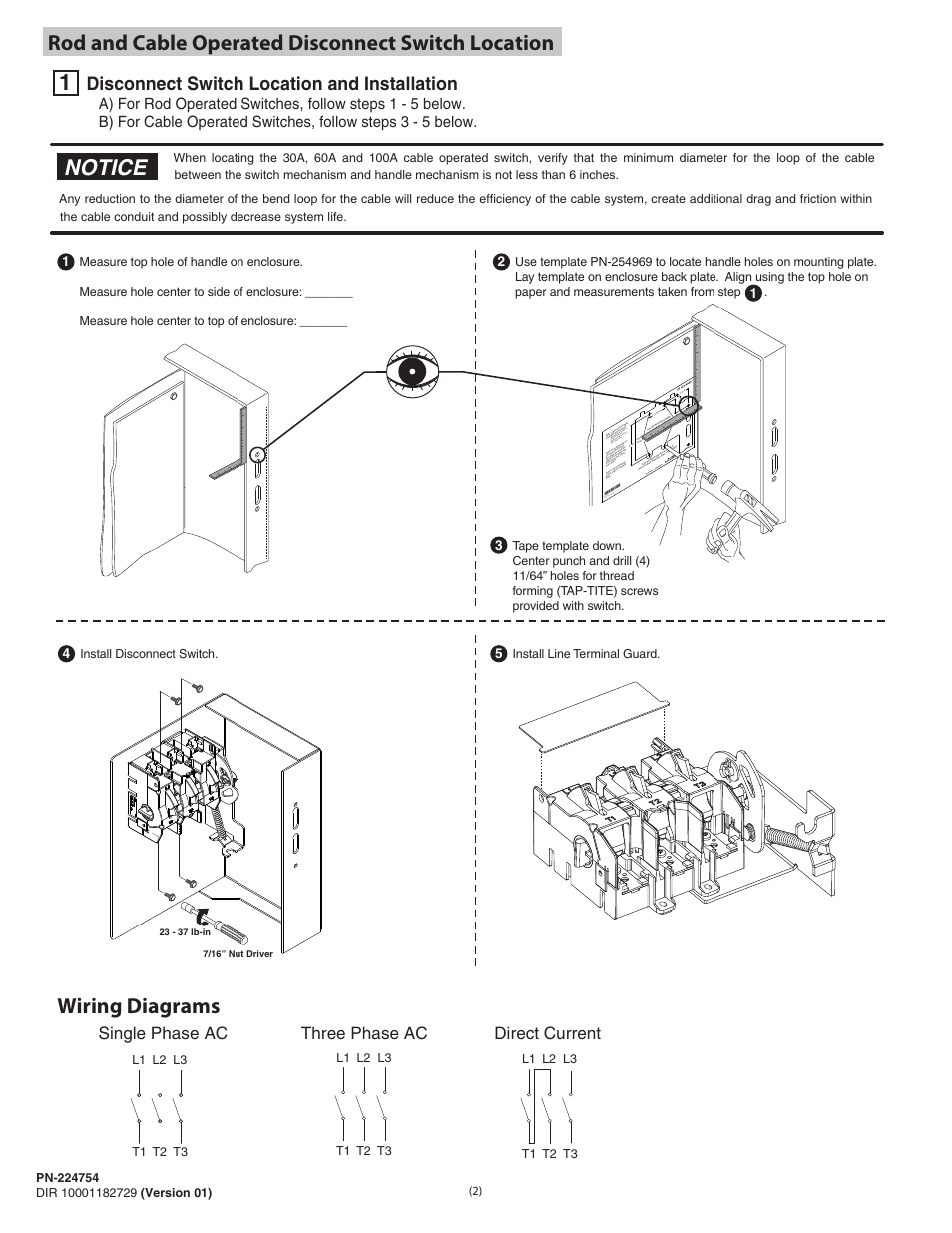 Notice  Disconnect Switch Location And Installation  Single Phase Ac Three Phase Ac Direct