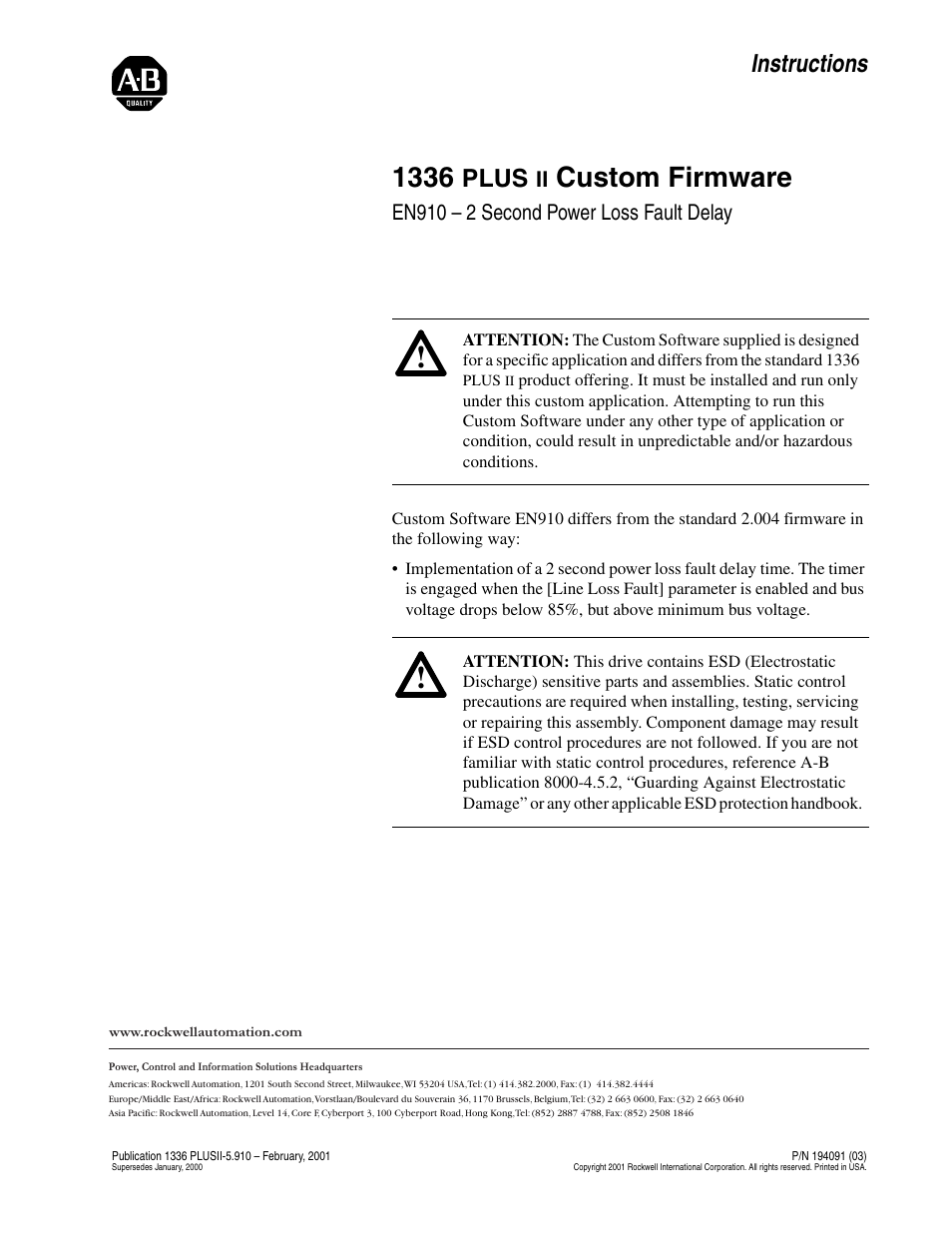 Rockwell Automation 1336F PLUS II Custom Firmware Inst. - EN910 User Manual  | 2 pages