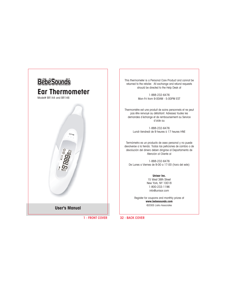 bebe sounds br146 user manual 6 pages also for br144 rh manualsdir com Cen-Tech Thermometer Manual Thermometer Used in Chemistry Lab Manual